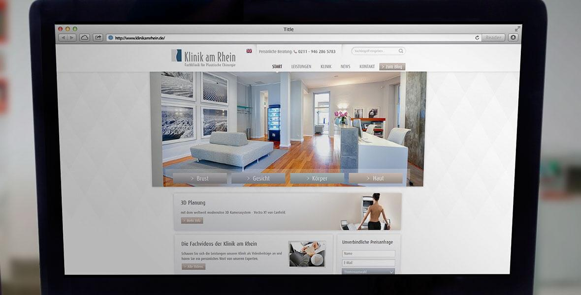 Webauftritt der Klinik am Rhein auf dem Desktop