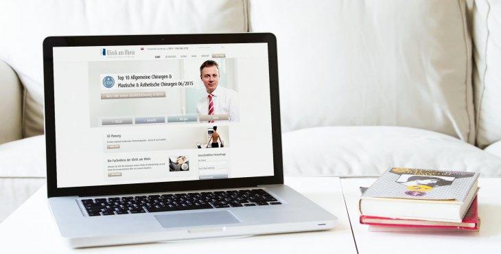 Desktop Variante der Webseite von Klinik am Rhein