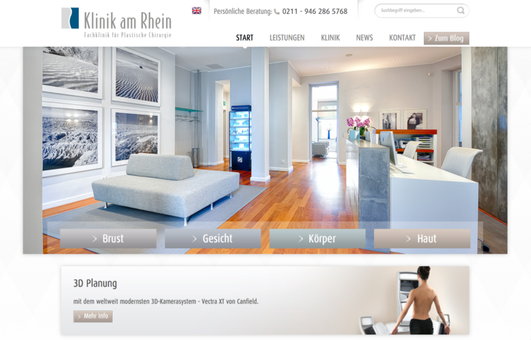 Klinik am Rhein Website und Online Marketing