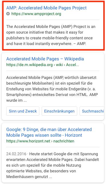 Kennzeichnung eines AMP Suchergebnisses auf Google