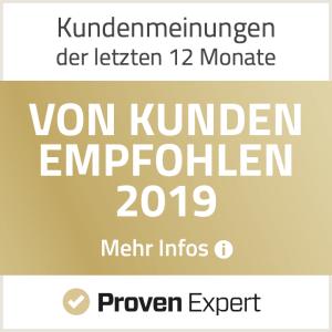 Proven Expert von Kunden empfohlen 2019