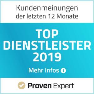 Proven Expert Top Dienstleister 2019
