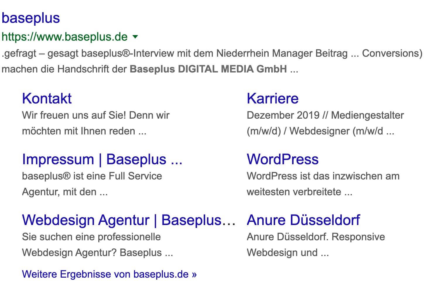 Google Suchergebnis Sitelinks schema.org