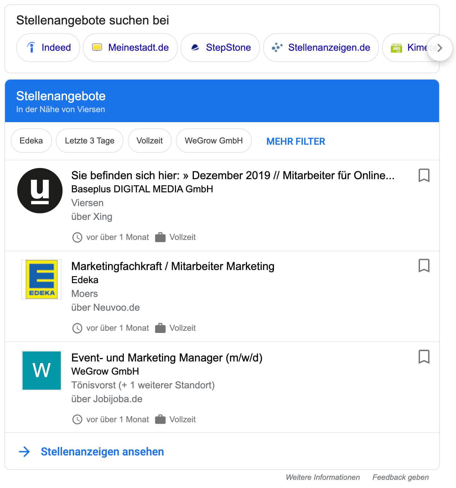 Stellenangebote Gogle for Jobs Darstellung schema.org