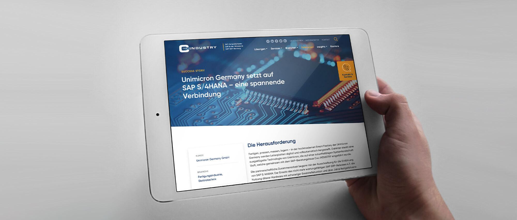Ansicht der responsiven Webseite von CPRO auf einem Tablet